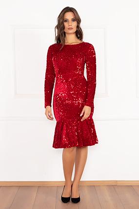 Yolanda 13172 Eteği Volanlı Uzun KolluKadife Pulpayet Elbise-19K69001U10