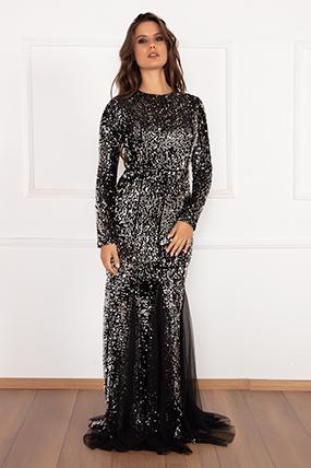 Whitley 13174 Pulpayet Balık Kadife Elbise-19K69003U10