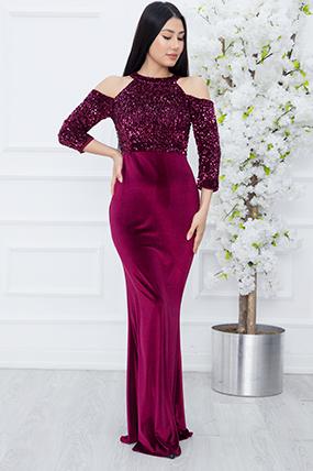 Lavender 13179 Omuz Detaylı Kadife Pulpayet Elbise-19K69004U10