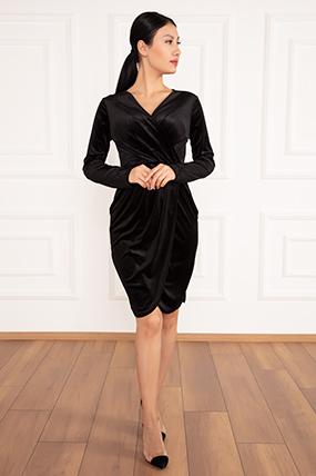 Rania Kruvaze Yaka Kısa Kadife Elbise 13186-19K69013U29