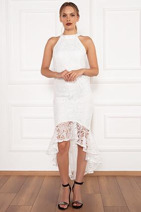 Dixie Dantel Eteği Volanlı Elbise 13208-19K69031U13