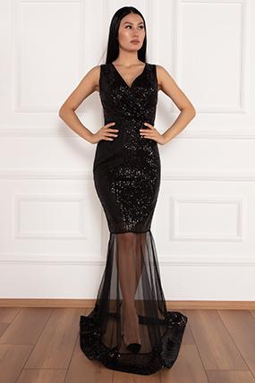 Keanna 13210 Pulpayet Tül Detaylı Uzun Elbise-19K69032U06
