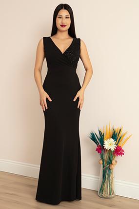 Ophelia 13213 Krep V Yaka Uzun Elbise-19K69037U16