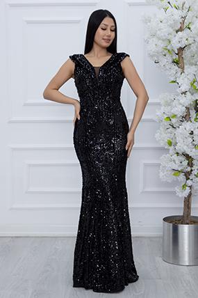 Pam 13216 Kadife Pulpayet Uzun Elbise-19K69039U10