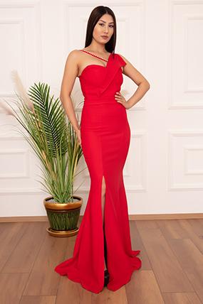 Maureen 13218 Yırtmaçlı İnci Detaylı Uzun Elbise-19K69040U09