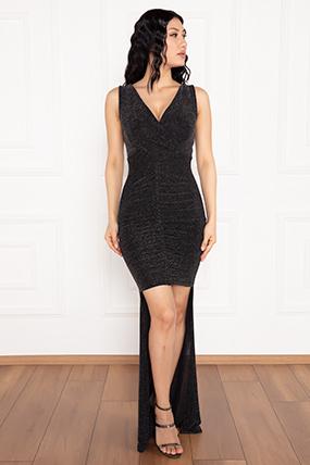 Almila 13250 V Yaka Ön kısa Arka Uzun Simli Elbise-19K69073U06