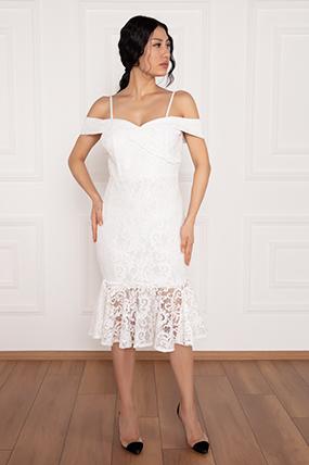 Dees 13266 Askılı Eteği Volanlı Elbise-19K69075U13