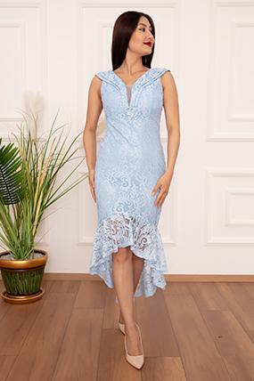 Veyl 13259  Eteği Volanlı Dantel Elbise-19K69078U13