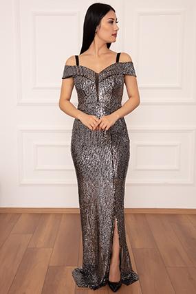 Leah 13267 Pulpayet Askılı Uzun Elbise-19K69089U06