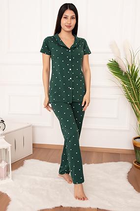 Bayan Düğmeli Kalp Desenli Pijama Takımı 3629-20Y64027H09