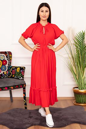 Bayan Viskon Volanlı 7341 Elbise-20Y6901H35