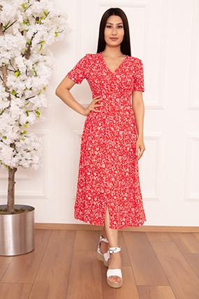 Bayan Çiçekli Düğmeli 2359 Elbise-20Y69021H16