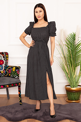 Bayan Puanlı Gipeli Viskon 7362 Elbise-20Y6902H35
