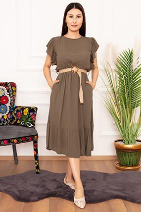 Bayan Kemerli Volanlı 1252 Elbise-20Y69038H28