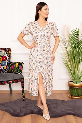 Bayan Viskon Boydan Düğmeli 1233 Elbise-20Y69039H28
