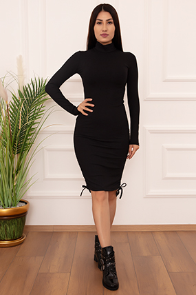 Bayan Yan Büzgülü Dik Yaka LPS500 Elbise-20Y69084H60