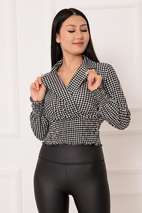 Bayan Kazayağı Kadife Kruvaze Crop Bluz 1374-21K04001H75