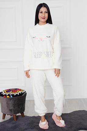 Bayan Nakışlı Polar Pijama Takımı 1171-21K64001H25