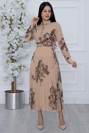 Kadın Pano Desen Şifon Elbise 1364-21K69005H28