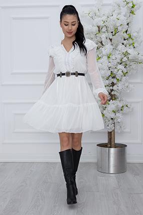 Bayan Göğüs Fırfırlı Şifon Elbise 7223-21Y69005H35