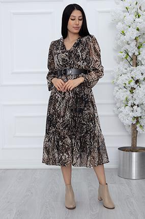 Bayan Deri Kemerli Fırfırlı Şifon Elbise 1339-21Y69007H28