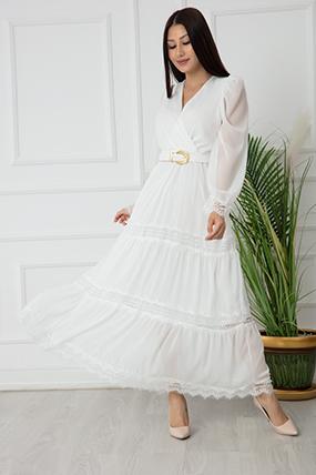 Bayan Dantel Detaylı Uzun Şifon Elbise 7227-21Y69009H35