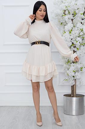 Bayan Eteği Kat Kat Şifon Kısa Elbise 8006-21Y69010HNY