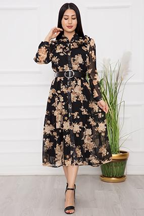 Bayan Boydan Düğmeli Fırfırlı Şifon Elbise 1110-21Y69060H28