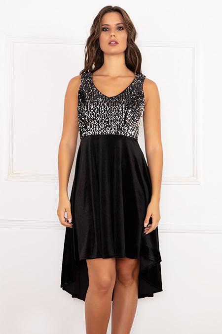 Yvonne 13173 Sıfır Kol Pulpayet Kadife Elbise-19K69002U10