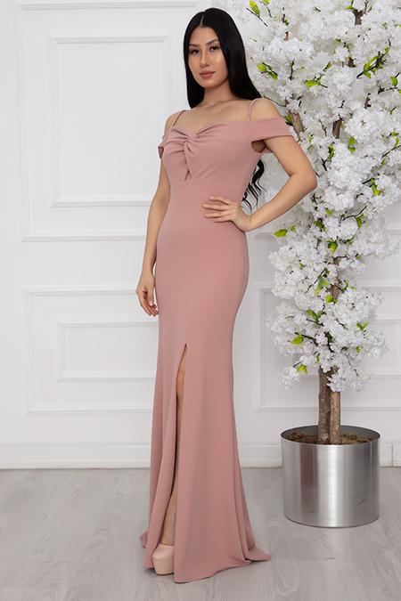 Billie 13248 Dalgıç Krep Uzun Elbise-19K69067U14