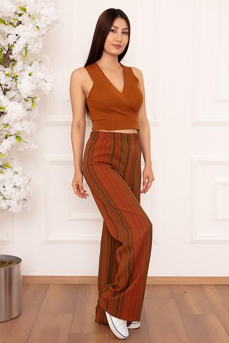 Bayan Çizgili Salaş ESP10 Pantolon-20Y60020U29