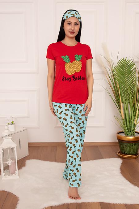 Bayan Pijama Takımı Ananas Baskılı 2002-20Y64020H10