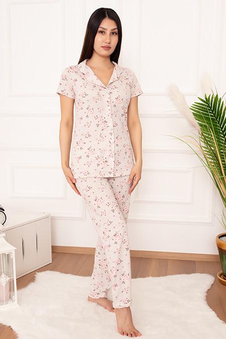 Bayan Düğmeli Çiçek Desen Pijama Takımı 3685-20Y64026H09