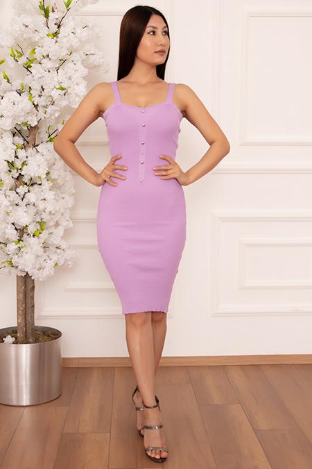 Bayan Düğmeli Askılı 5530 Elbise-20Y69024H08