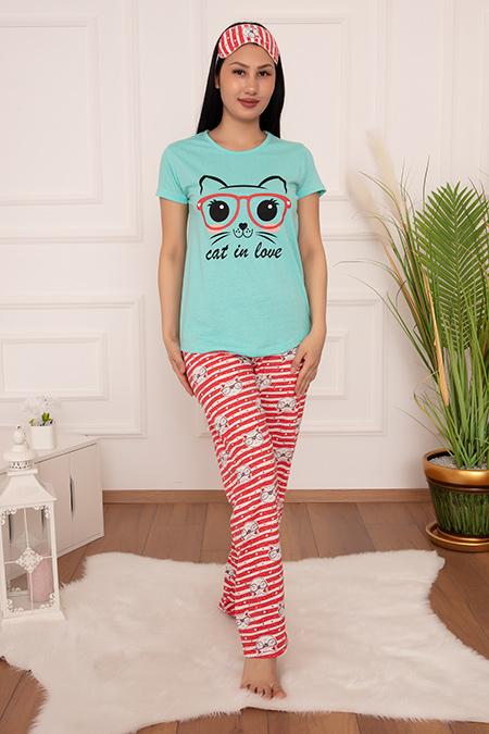 Bayan Pijama Takımı Kedi Baskılı 2000-20y64018H10