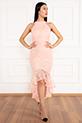 Dixie 13208 Dantel Eteği Volanlı Elbise / PUDRA