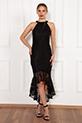 Dixie 13208 Dantel Eteği Volanlı Elbise / SIYAH