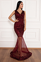 Keanna 13210 Pulpayet Tül Detaylı Uzun Elbise / BORDO