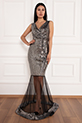Keanna 13210 Pulpayet Tül Detaylı Uzun Elbise / GUMUS