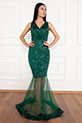 Keanna 13210 Pulpayet Tül Detaylı Uzun Elbise / ZUMRUT