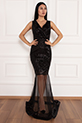 Keanna 13210 Pulpayet Tül Detaylı Uzun Elbise / SIYAH