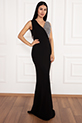 Ophelia 13213 Krep V Yaka Uzun Elbise / GUMUS