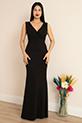 Ophelia 13213 Krep V Yaka Uzun Elbise / SIYAH
