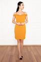 Carol 13236 Dalgıç Krep Kısa Elbise / HARDAL