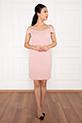 Carol 13236 Dalgıç Krep Kısa Elbise / PUDRA