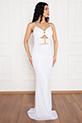 Betty 13237 Pulpayet Askılı Uzun Elbise / BEYAZ