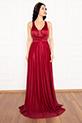 Ruth 13239 Simli Tül Uzun Elbise / BORDO