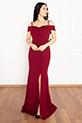 Becca 13247 Dalgıç Krep Askılı Kemerli Uzun Elbise / BORDO