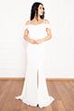 Becca 13247 Dalgıç Krep Askılı Kemerli Uzun Elbise / EKRU