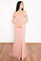 Becca 13247 Dalgıç Krep Askılı Kemerli Uzun Elbise / PUDRA
